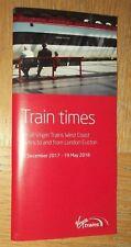Virgin Trains West Coast Passenger Timetable booklet:all services Winter 2017/18