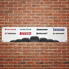 Tyre Logos Banner Garage Workshop Car Motorcycle PVC Sign Trackside Display Tire