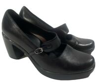 Dansko Size 37 6.5-7 Black Leather Tara Mary Jane Pumps Platform Heels