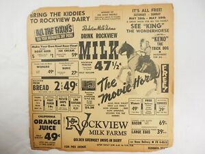 1960 Rockview Milk Farms Redondo Beach California Newspaper insert advertisement