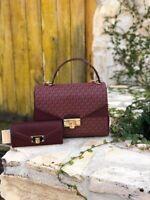NWT Michael Kors Signature Kinsley LG TH Satchel handbag/wallet options oxblood