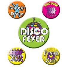 Disco 1970's Party Supplies 5 pcs DISCO PARTY BUTTONS Groovy Nights 70's Decade