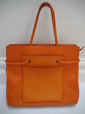 DELVAUX orange pebbled leather exterior pocket large tote handbag