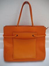 DELVAUX orange pebbled leather exterior pocket large tote handbag