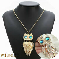 Owl Rhinestone Crystal Pendant Women Necklace Animal Long Sweater Chain Jewelry