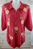 ALFRED DUNNER Large Flower Top*Size 2XL Embroidery ..RED