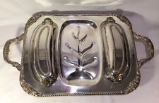 Vintage Sheridan Silver-plated Footed Serving Tray/Platter Ornate Removal Lids