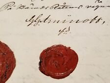 Royalty Royal Aminoff Manuscript King Queen Signed Document Letter Wax Seal Arms