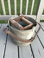Antique Eagle Farmhouse Mopping Pail Bucket Galvanized Metal Wood Roller Wringer