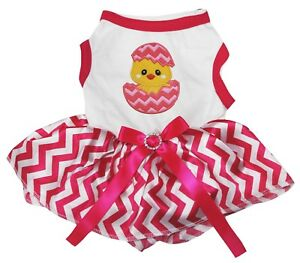 Easter Chicken Egg White Cotton Top Pink Chevron Tutu Pet Dog Puppy Dress
