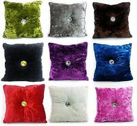 Cushion Crush Velvet Cushions Luxury Diamante Chic Filled Scatter Cushion square