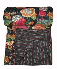 Black Floral Indian King Kantha Quilt Bedspread Blanket Bedding Throw Handmade