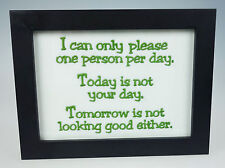 Framed Embroidery Picture Sign I Can Only Please One Person Today Not Your Day