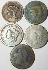 Draped Bust, Coronet Head, Braided Hair Large Cent Lot of 5