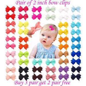 "2 inch 2"" Baby Girls kids  Hair clip Bows snap clips lot bow cute School Pair"