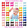 "2 inch 2"" Baby Girls kids  Hair clip Bows snap clips lot bow cute School Pair"