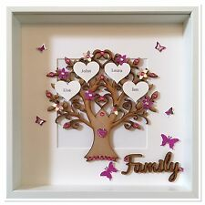 Personalised Family Tree 3D Box Frame Christmas Xmas Gift Home Pink Glitter