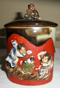 ANTIQUE JAPANESE SUMIDA GAWA INOUE RYOSAI POTTERY COVERED JAR
