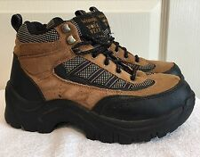 Mens WRANGLER Steel Toe Hiker Work Boots Brown & Black Leather SIZE 5.5 ~LQQK~