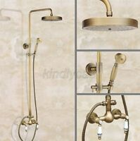 Antique Brass Wall Mount Bathroom Rainfall Shower Faucet Set Mixer Tap Kan104