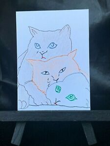 ACEO Original 3 Musketeers Kitty Medium Black Ink Marker & Prismacolor on Paper