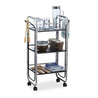 Servierwagen Metall mit 3 Etagen, Küchenwagen mit Griffen, Beistellwagen Büro