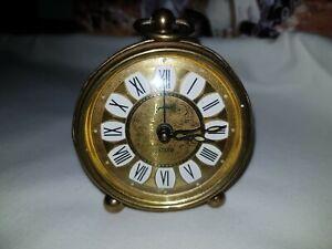 Vintage 1960's goldbuhl Filigree Shaped Brass travel Alarm Clock (Time Winding)