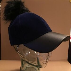David & Young Faux Fur Pom Pom Velvet Baseball Cap