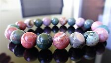 "Genuine Ocean Agate Bead Bracelet for Men (On Stretch) 10mm AAA - 8"" inch"