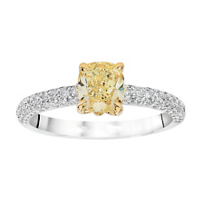 Diamond Engagement Ring Fancy Yellow Cushion Cut GIA Certified 2.7 CT Platinum