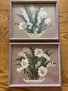 Pair of 1940's de Jonge Floral Prints in Original Frames, Images VG No Fading