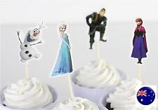 24P FROZEN Elsa Anna Party Cupcake Cakes Decorating Toppers Picks Flags Set