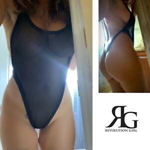 Black Sheer Mesh Backless One Piece Lingerie Thong Bodysuit By Revolution Girl