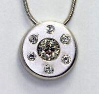 Diamond disk pendant necklace 14K white gold Euro round brilliant 1.20C disc 14G