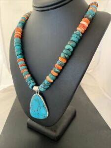 Navajo Pearls Spiderweb Spiny Oys Turquoise Sterling Silver Necklace Pendant 833