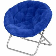Soft Faux-Fur Saucer Chair, Comfortable Portable Fuzzy Seating, Blue