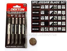 5pc JIGSAW BLADE SET Black Decker Clamp U Shank Fitting PVC Wood Clean Fast Cut