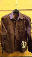 ELEMENT L Brown Stripped Button Up Arrow Logo Long Sleeve Skater Mens Shirt