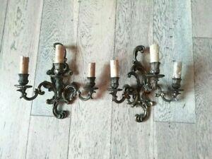 Antique Pair Brass  Bronze Wall Sconces rare lamps 3 arms rare