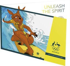 2020 $2 Tokyo Olympics UNC Coin Set SURFING KANGAROO FOLDER Express Post