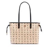 NWT MCM Project Visetos Reversible Shoulder Shopper Tote Handbag In Beige