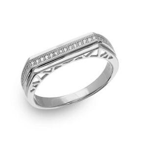 Herren Sterlingsilber Ehering Ring W / Mikro Besatz Cz Steine