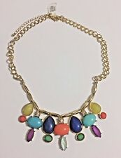 "Multi Color Multi Faceted Cabochon Gold Tone Bib Statement Necklace 17""-19"" New!"