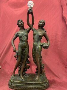 Large Resin Ornament, Partially Nude Twin Ladies, 64cm Tall