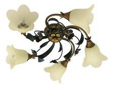 plafoniera soffitto classico country ferro battuto vetro foglie fiori verde oro