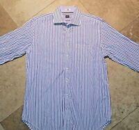 Peter Millar Long Sleeve Button Front Shirt 100% Cotton Striped White L