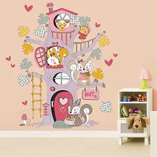 Huge Nursery Children Squirrel Tree House Wall Sticker Girls Boys Room Deco