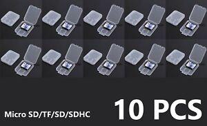 10Pcs Micro SD SDHC Memory Card Case Holder Box Storage Hard Plastic Transparent