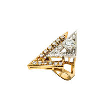Unique Cocktail Ring 14K Two Tone Gold 1.65 Ct G VVS Diamond Ring 7.2 Gr Size 5