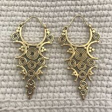 Tribal Spiral Drop Earrings in Brass